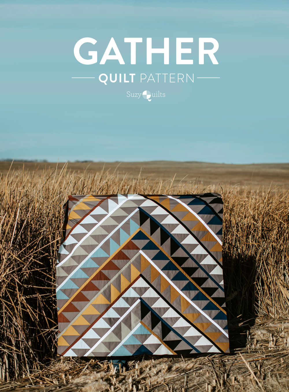 Gather is an HST modern quilt pattern with a unique twist! This instant PDF download comes in queen, twin, throw and baby quilt sizes. suzyquilts.com #quilt #quiltpattern
