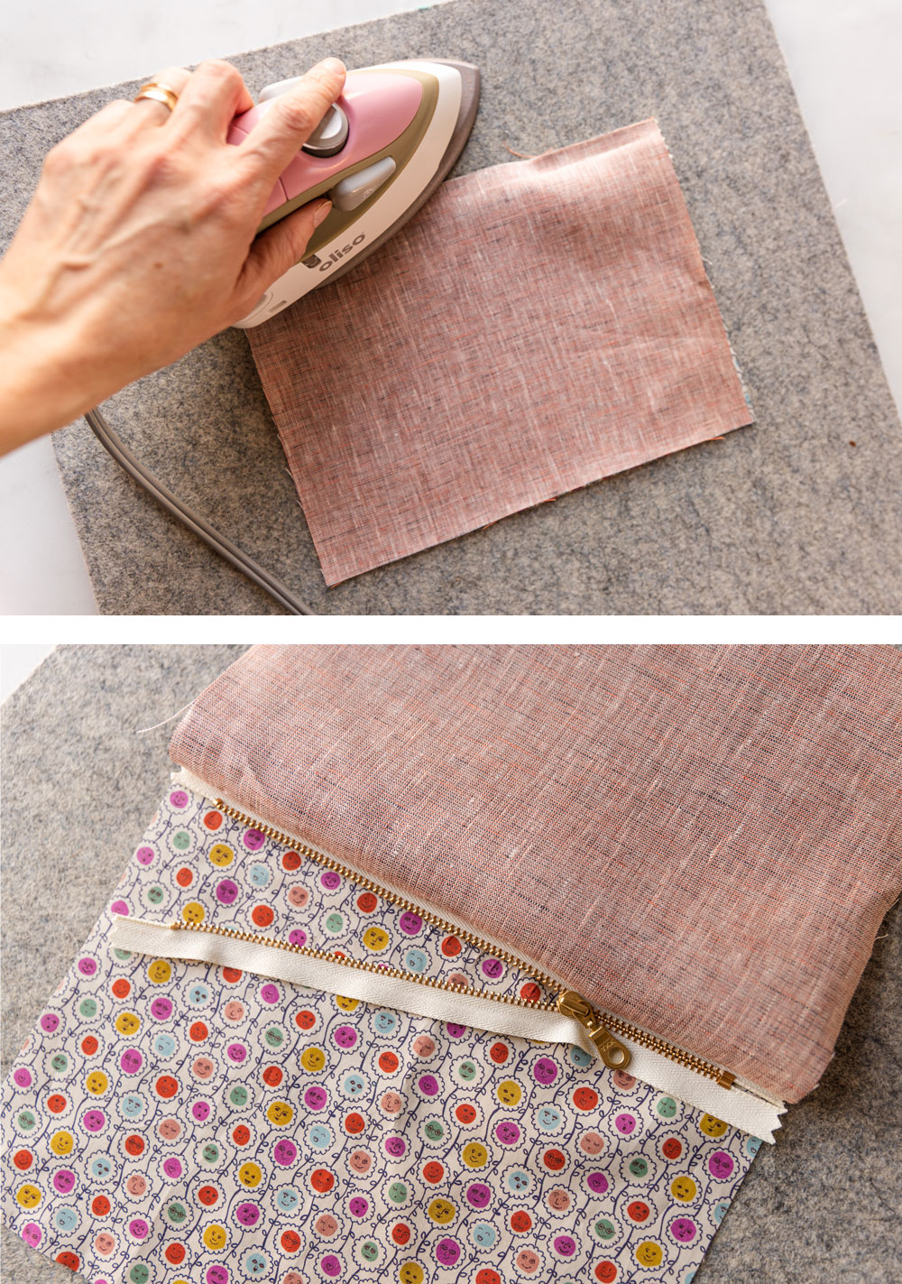 This easy zipper pouch tutorial shows exactly how to sew a simple pouch using scrap fabric and a zipper of any size. suzyquilts.com #zipperpouch #sewingDIY