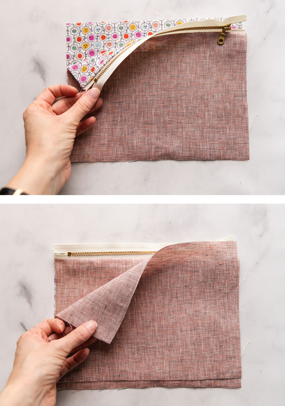 This easy zipper pouch tutorial shows exactly how to sew a simple pouch using scrap fabric and a zipper of any size. suzyquilts.com #zipperpouch #pouchtutorial