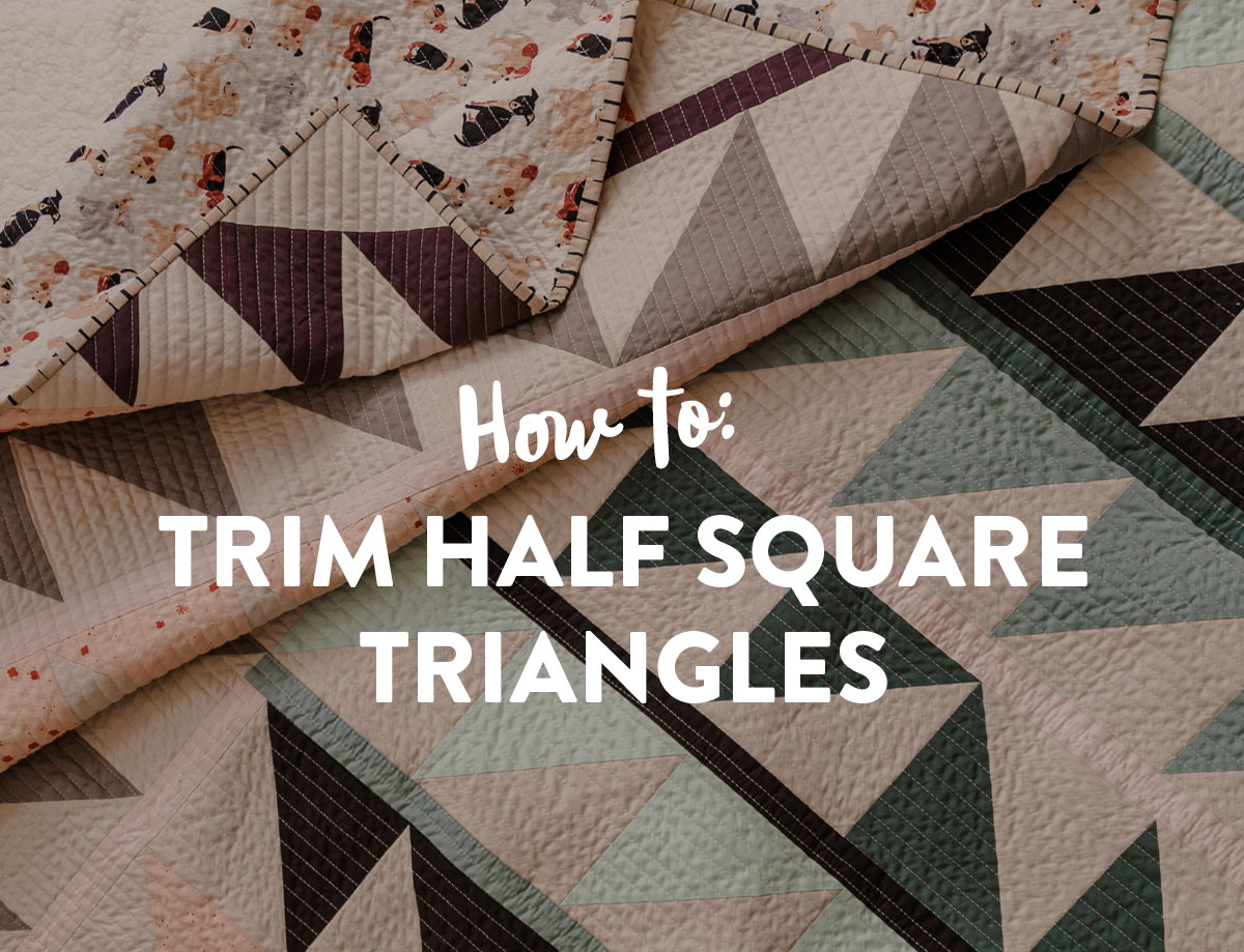 The best tutorial on how to trim half square triangles! Make perfect HSTs every time with this sewing method. suzyquilts.com #hst #quilting