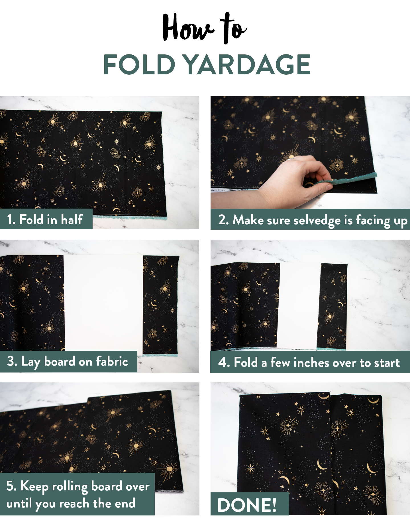 The ultimate guide to folding fabric of different sizes to neatly organize your fabric stash. Step by step photos and instructions show you how to fold fat quarters, half yards, and yardage so you can get started on cleaning your sewing studio.
