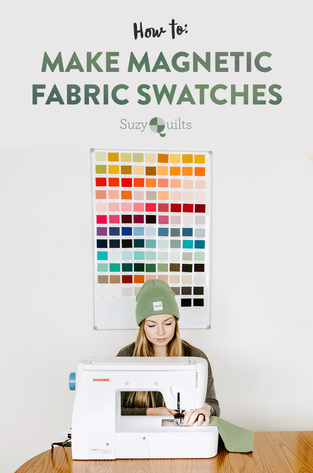 This fabric tutorial shows how to make magnetic fabric swatch cards from the Art Gallery Fabrics Solids color card for your personal use! suzyquilts.com #sewingdiy #sewing