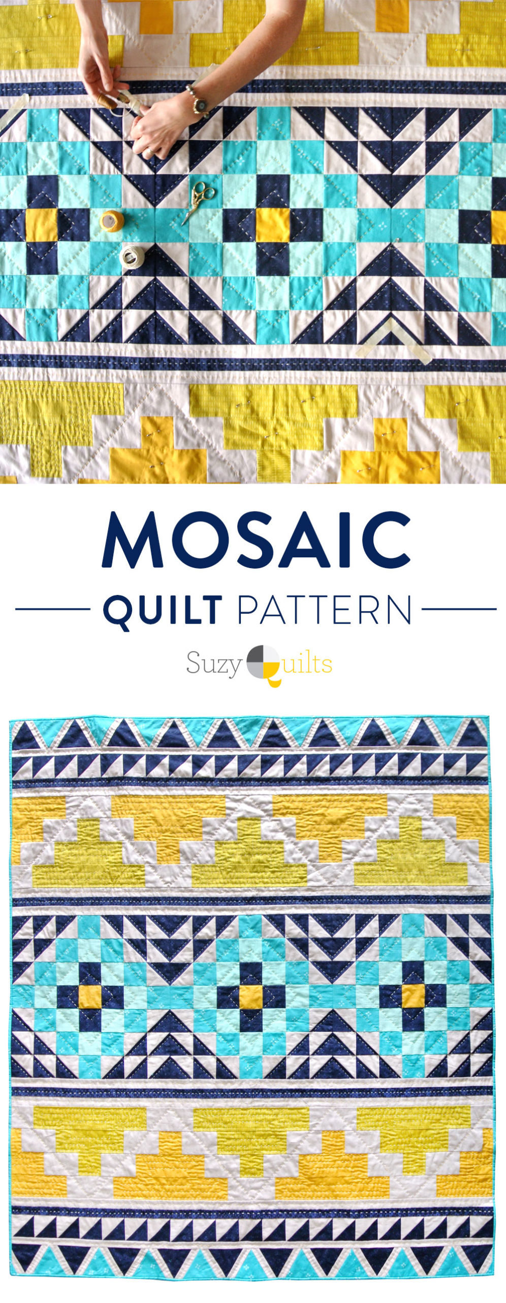 This fun modern quilt pattern looks like tiles of a mosaic!