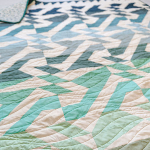 """Beautiful cool-toned fabric to make a 60"""" x 72"""" throw Voyage quilt. Made with 100% Art Gallery Fabrics PURE solids of the softest quality."""