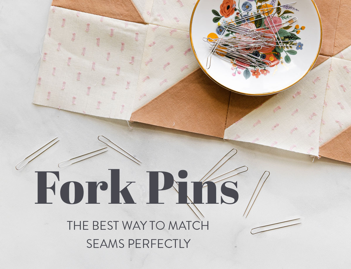 Quilting with fork pins is the best way to match seams perfectly! suzyquilts.com #quilting #sewingtools