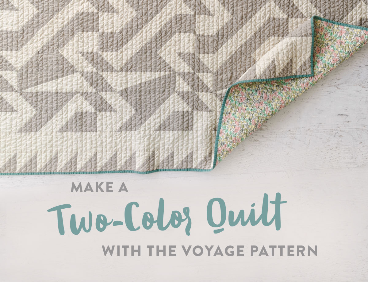 The two-color Voyage quilt pattern is great for beginners! It includes king, queen, twin, throw and bay quilt sizes plus instructions for a multi-color quilt that is fat quarter friendly. suzyquilts.com #quiltpattern #modernquilt