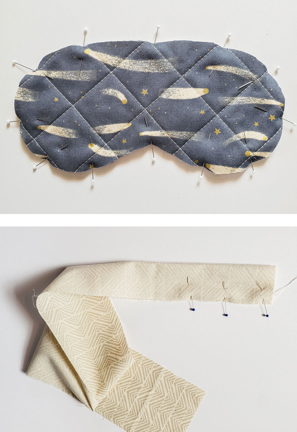Use your scrap fabric to make this free quilted sleep mask! Step by step instructions for a beginner-friendly tutorial. | suzyquilts.com #sewingtutorial #DIYsewing