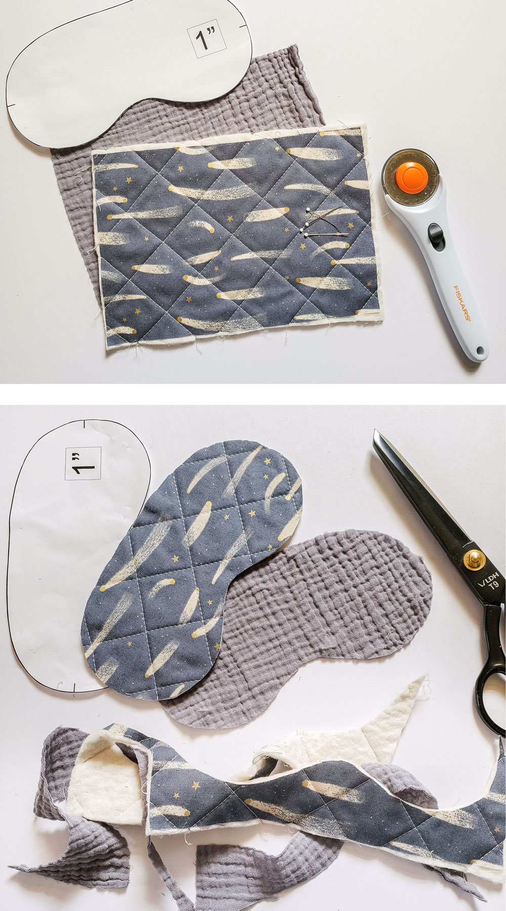 Use your scrap fabric to make this free quilted sleep mask! Step by step instructions for a beginner-friendly tutorial. | suzyquilts.com #sewingtutorial #DIY