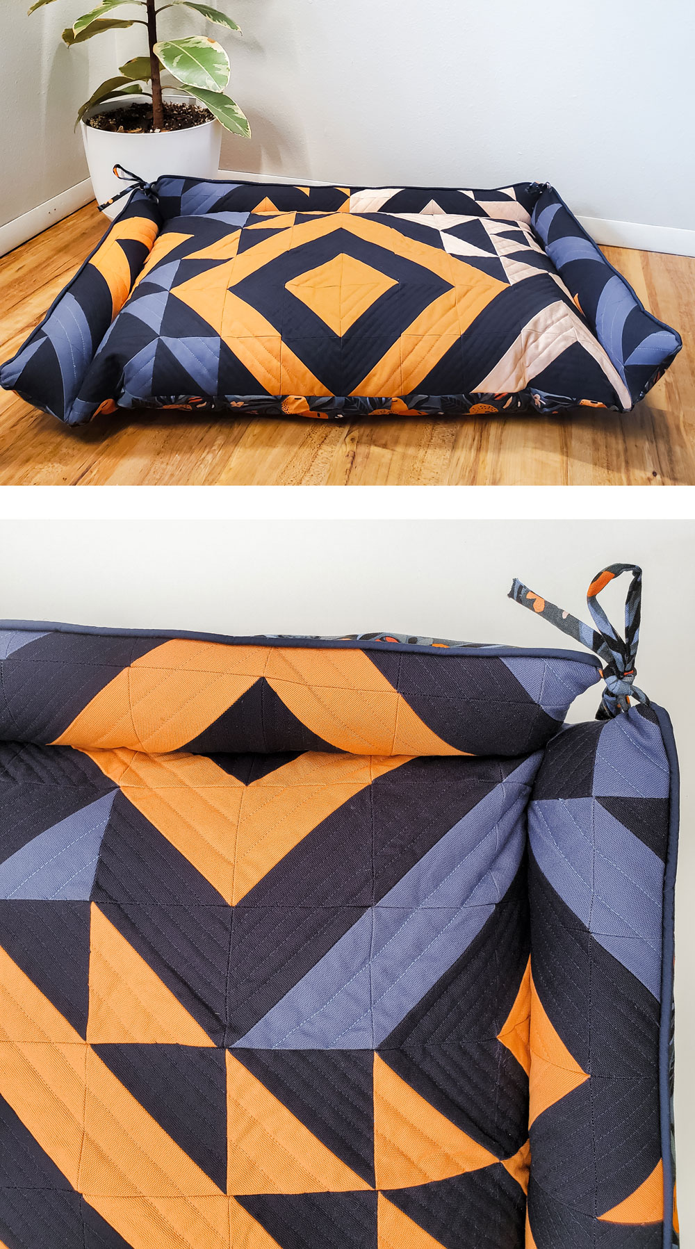 Make a Triangle Jitters Quilted Dog bed with this free tutorial! Step by step instructions for this pe-approved sewing DIY! suzyquilts.com #dogbeddiy #sewingtutorial
