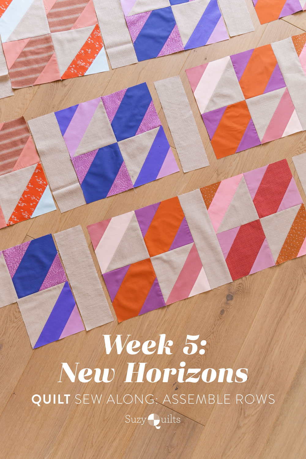 The New Horizons quilt along includes lots of extra instruction and tips in sewing this fat quarter friendly modern throw quilt. suzyquilts.com #quiltpattern #modernquilt