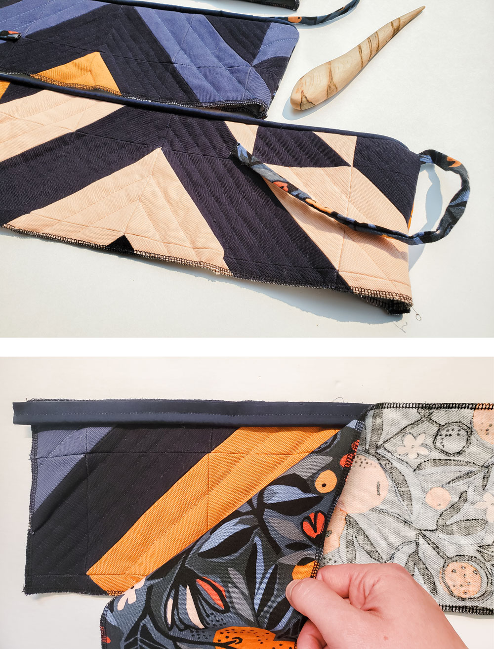 Make a Triangle Jitters Quilted Dog bed with this free tutorial! Step by step instructions for this pet sewing DIY! suzyquilts.com #dogbeddiy #sewingtutorial