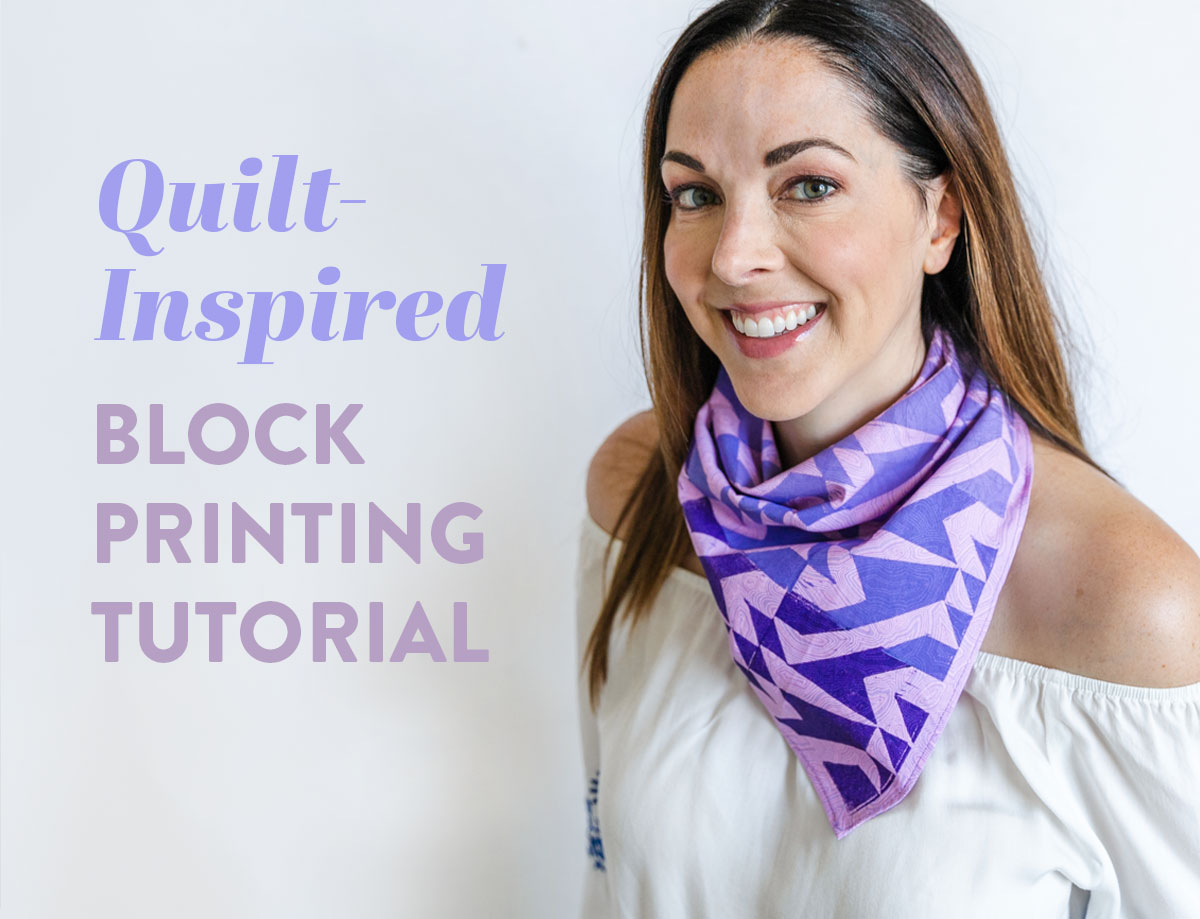 This quilt-inspired block printing tutorial is a creative way to add character to fabric. Together we will carve a block and stamp! suzyquilts.com #sewingdiy