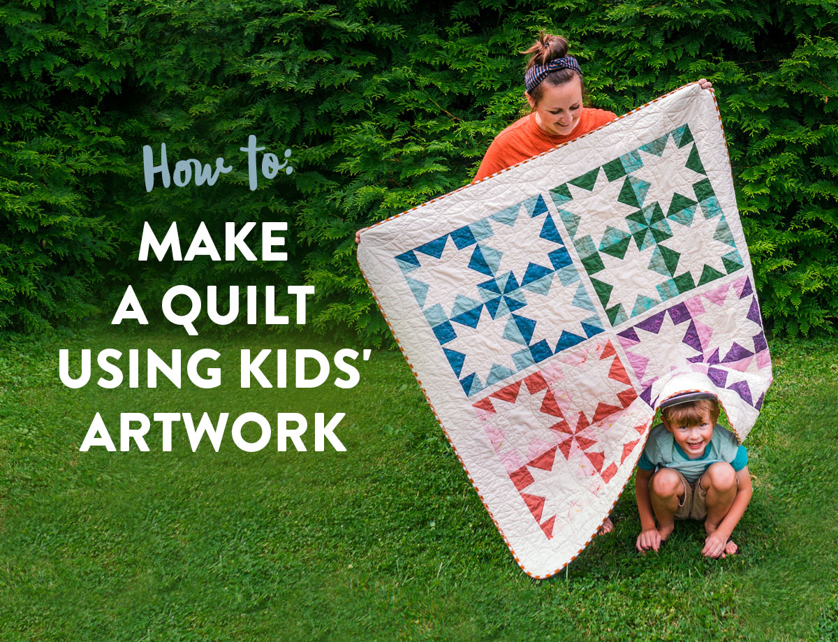 This DIY tutorial explains how to print your child's art onto fabric to make a beautiful memory quilt using kids' artwork! suzyquilts.com #sewingtutorial #quilting