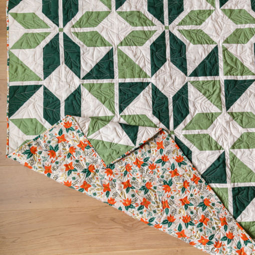"""Holiday Party quilt pattern kit. A festive green quilt kit for a throw, 77"""" x 77"""" quilt. suzyquilts.com"""