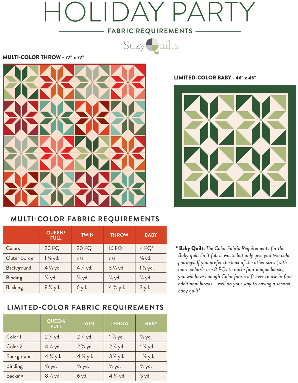 Holiday Party quilt pattern download. A fat quarter friendly Christmas quilt pattern! suzyquilts.com