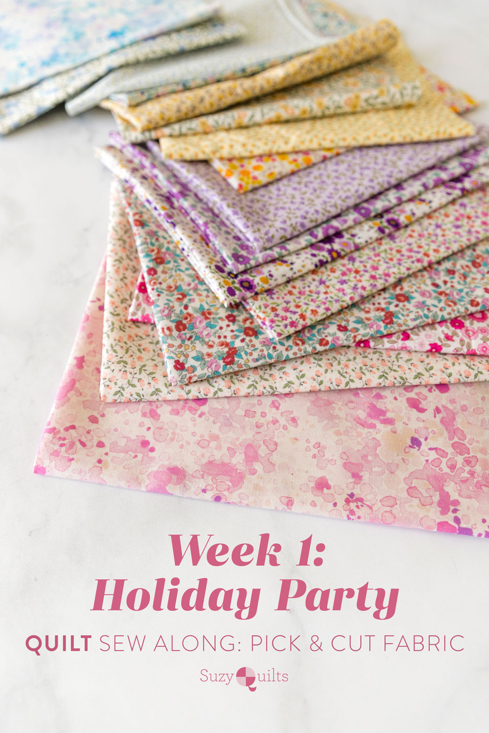 The Holiday Party quilt along includes lots of extra instruction and tips in sewing this fat quarter friendly modern throw quilt. suzyquilts.com
