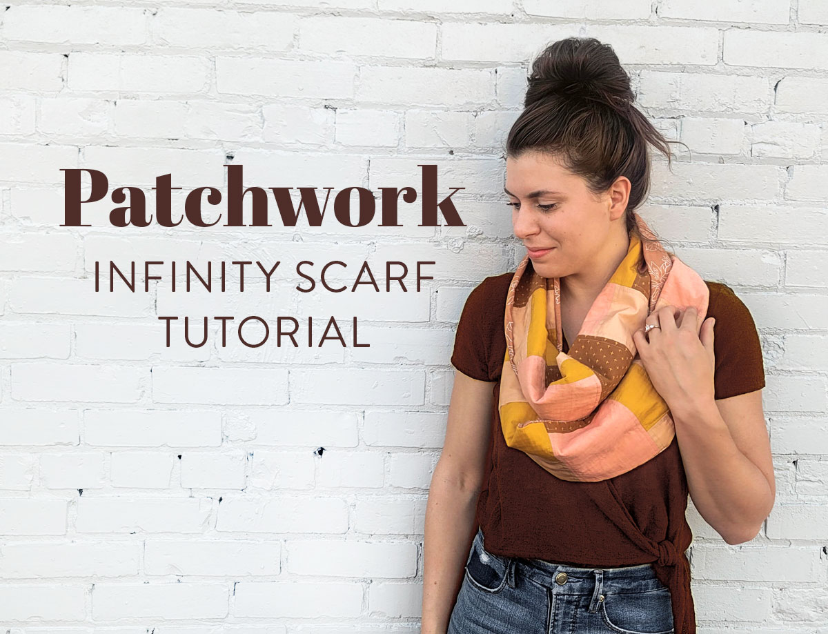 Learn how to spruce up your fall wardrobe with this easy DIY patchwork infinity scarf photo tutorial! suzyquilts.com #sewingdiy #quilting