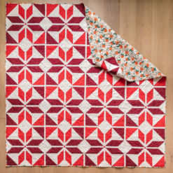 Holiday Party quilt pattern kit. A festive red quilt kit for a throw, 77
