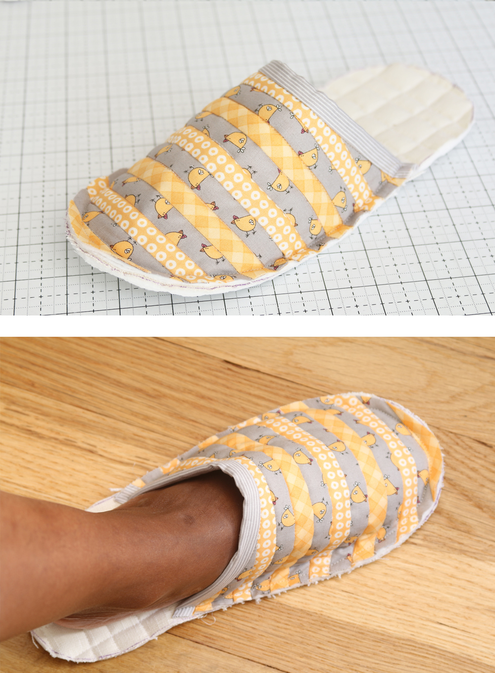 Learn everything you need to know to make a pair of quilted slippers that are just your size in this beginner-friendly photo tutorial! suzyquilts.com #quilting #sewingdiy